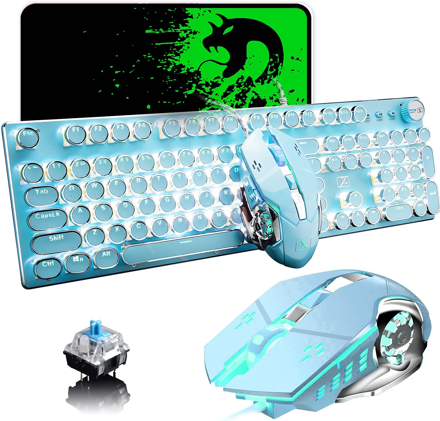 Gaming Keyboard and Mouse,Retro Steampunk Vintage Typewriter-Style Mechanical Keyboard with White LED Backlit,104-Key Anti-Ghosting Blue Switch Wired USB Metal Panel Round Keycaps(Blue)