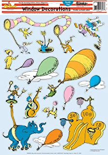Eureka Back to School Dr. Seuss 'Oh The Places You'll Go!' Vinyl Window Clings and Classroom Decorations, 15pc, 12'' W x 17'' H