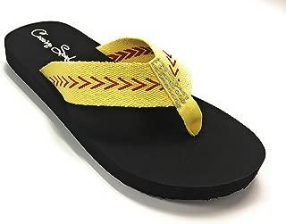 Cocomo Soul Softball Flat Fabric Flip Flops Sandals Rhinestone