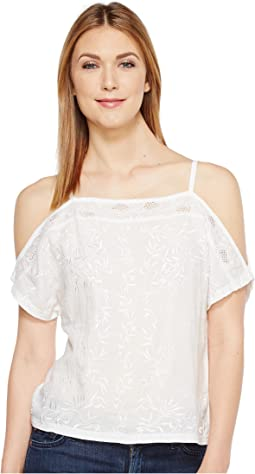 Lucky Brand Embroidered Cold Shoulder Top