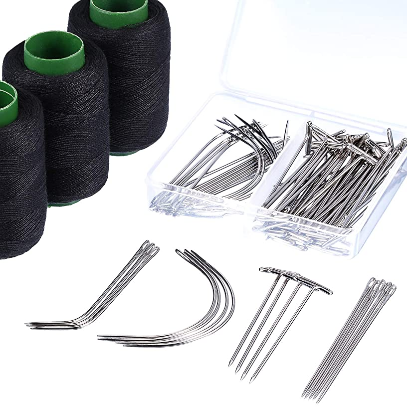 Leinuosen 83 Pieces C J I Shaped Wig Needle T Pins Black Thread for Wig Making Hair Extension Handcraft Hand Sewing