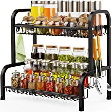 Spice Rack, Swedecor 2 Tier Large Spice Rack Organizer for Countertop with Stepped Design, Seasoning Rack Kitchen Storage ...