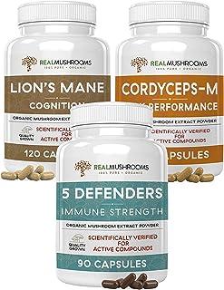 Real Mushrooms Brain, Vitality, Immune Support Bundle - Lion's Mane Mushroom Cognition Capsules (120ct) + Cordyceps-M Peak...