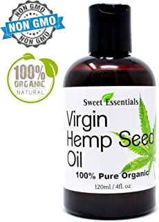 Organic Extra Virgin Unrefined Hemp Seed Oil (Food Grade) - 4oz - Imported From Canada - 100% Pure Cold Pressed - Offers Relief From Dry & Cracked Skin, Eczema, Psoriasis, All Common Skin Conditions