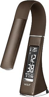 WILIT U2 Lámpara Escritorio Reloj Despertador, LED Flexo de Escritorio con Pantalla Regulable, Calendario, Indicador de Temperatura, 5W Lámpara de Mesa de Noche Táctil, 3 Niveles de Brillo, Marrón