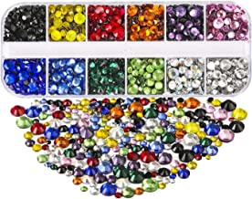 Dorhui 5 Sizes Hotfix Crystals Flatback Rhinestones,Glass Rhinestones Hot Fix Crystal Rhinestones HotFix Round Crystal Gems 12 Colors 2-6.5 MM (SS6 -SS30) in Storage Box