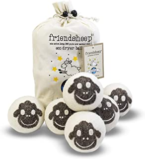 Friendsheep Organic Eco Wool Dryer Balls – 6 Pack – 100% Handmade, Fair..