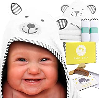 Baby Bath Essentials by Rose & Remy - Bamboo Hooded Towel & Washcloth Gift Set - Unique Baby Shower Registry Present for Newborn Boys or Girls! Bonus Wooden Baby Brush & Comb Included!