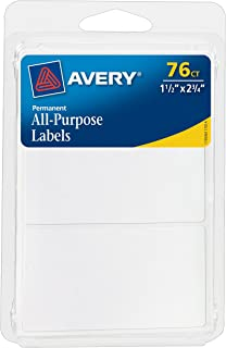 Avery All-Purpose Labels, 1.5 x 2.75 Inches, White, Pack of 76 (6117)