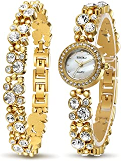 Time100 Women's Watches Bracelet Diamond Round Dial Watch Ladies Fashion Dress Watches Wrist Watches for Women