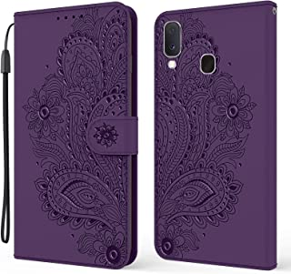 EnjoyCase Wallet Case for Samsung Galaxy A20/30,Pretty Embossed Peacock Flower Pu Leather Magnetic Closure Hand Strap Kick...