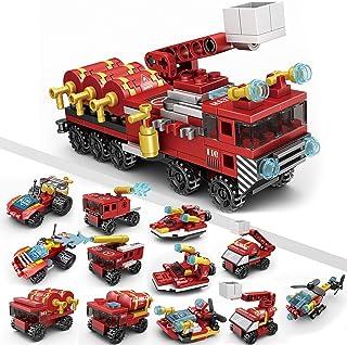 JUMEI 220Pcs Fire Truck Toys Building Block Set , 12-in-1 STEM Building Toys for Kids, Fire Rescue Vehicles Building Block...