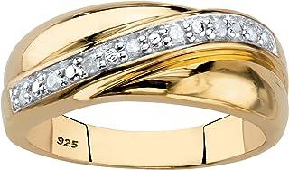 طلای زرد 18K 18K بالای حلقه نقره ای استرلینگ حلقه باند عروسی الماس اصلی (1/10 cttw ، I رنگ ، I3 وضوح)