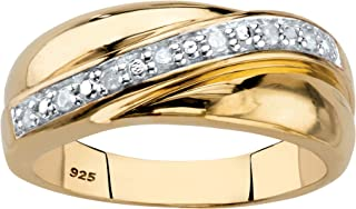 Men's 18K Yellow Gold Over Sterling Silver Round Genuine...