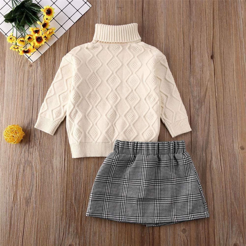 2Pcs Kids Little Girl Skirt Set Knit Long Sleeve High Neck Sweater Top+Plaid Button Mini Skirt Outfits Clothes