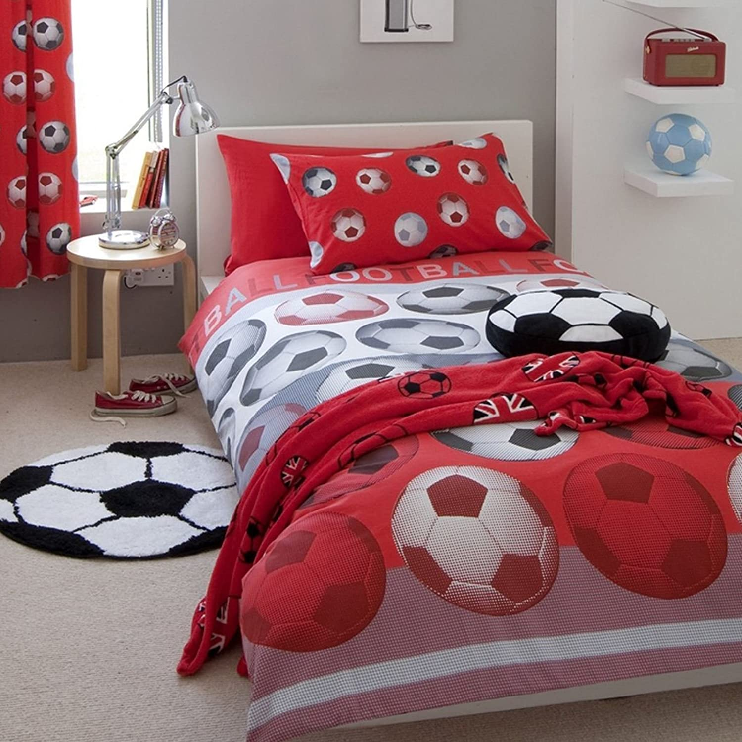 Catherine Lansfield Football Red Double Superior In a popularity US Full Cover Set Duvet