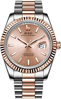 Mens Watches Luxury Analog Quartz Wristwatch Rose Gold Dial Calendar Display Sapphire Crystal with Stainless Steel Band
