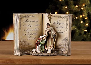 Image of Lovely Open Bible Holy Family Nativity Figurine