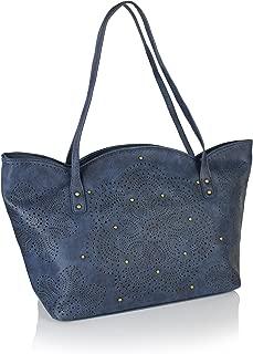 Boho Perforated Vegan Leather Large Shoulder Tote Bag Vintage Laser Cut Scalloped Top Handle Purse