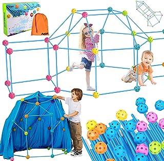 مجموعة بناء حصن من 156 قطعة للأطفال مع حقيبة حمل، كريزي ألتيميت فورت بيلدر، بناء ألعاب بناء فورت للأطفال من سن 4-8 سنوات د...