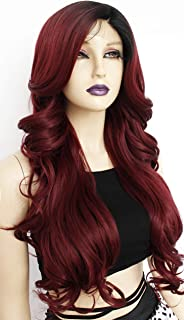 Ebingoo Ombre Red Lace Front Wig With Baby Hair Dark Roots Burgundy Synthetic Wigs with Long Body Wavy Replacement Hair with Flip for Cosplay Birthday Party