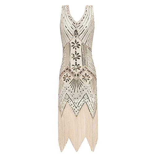 6adeac33d2d Metme Women s 1920s V Neck Beaded Fringed Gatsby Theme Flapper Dress for  Prom