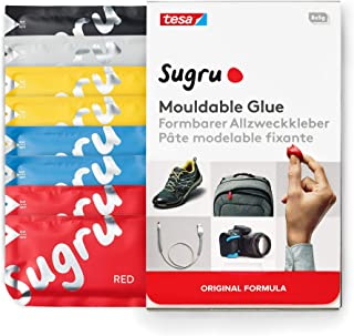 Tesa I000815 Sugru Pegamento moldeable Fórmula Original-Colores Básicos (8 Paquetes), (Negro, Blanco, Amarillo, Azul, Rojo)