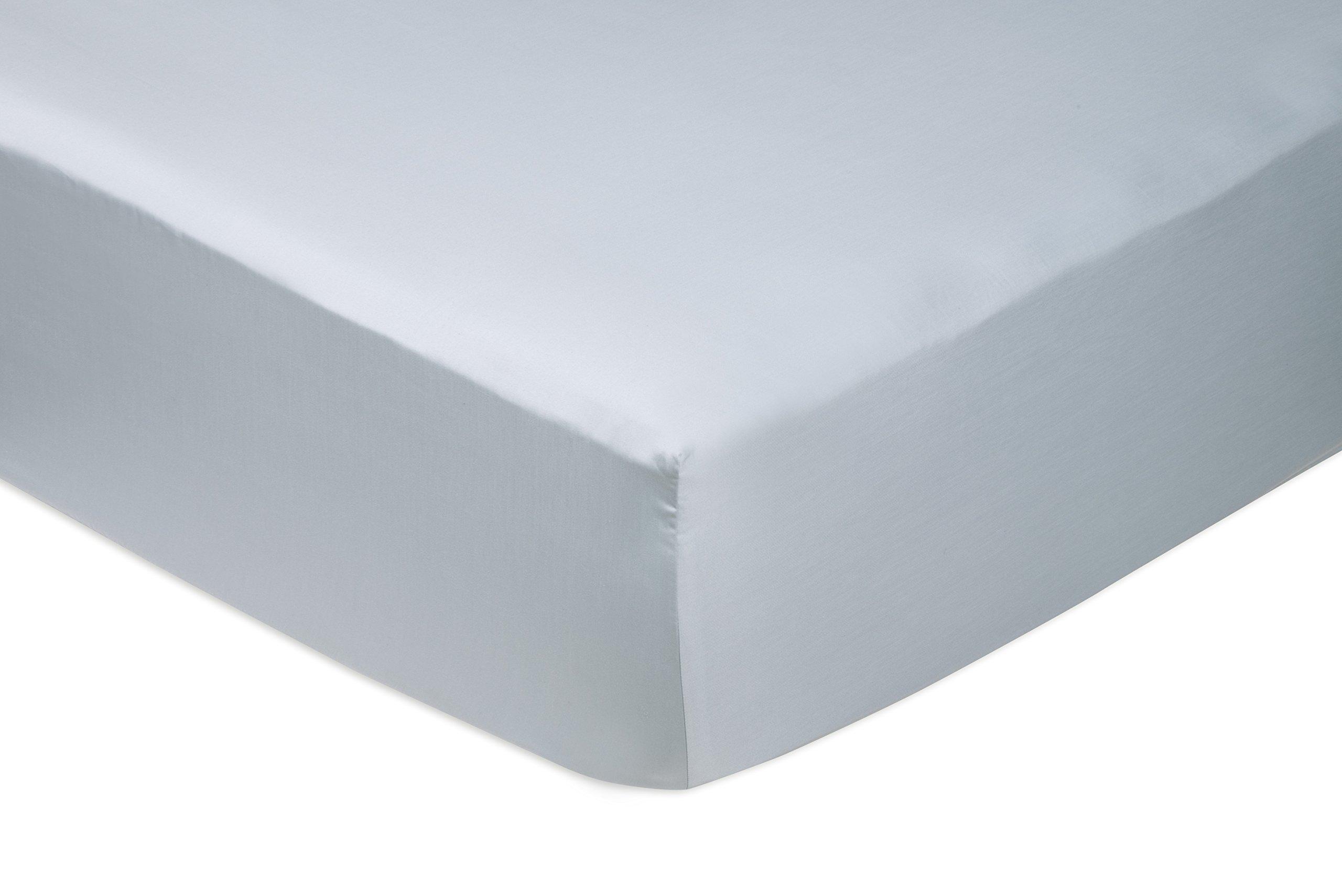 AmazonBasics - Sábana bajera ajustable (algodón satén 400 hilos, antiarrugas) Azul ahumado - 150 x 200 x 30 cm: Amazon.es: Hogar