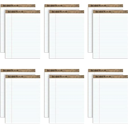 TOPS 74880 Second Nature Recycled Pads, 8 1/2 x 11 3/4, White, 50 Sheets (Pack of 12)