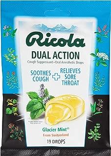 Ricola Dual Action Cough Suppressant Drops, Glacier mint, 19 Drops