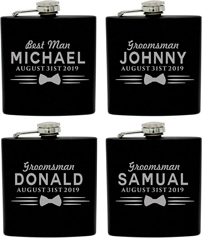 Set Of 4 Set Of 7 And More Custom Personalized Black Matte Flasks For Groomsmen Gifts Uniform Style 4