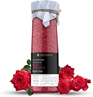 Rose Geranium Bath Salt by Soulflower with Rose Oil, Geranium Essential Oil, Natural Sea Salt for Aromatherapy, Relaxing B...