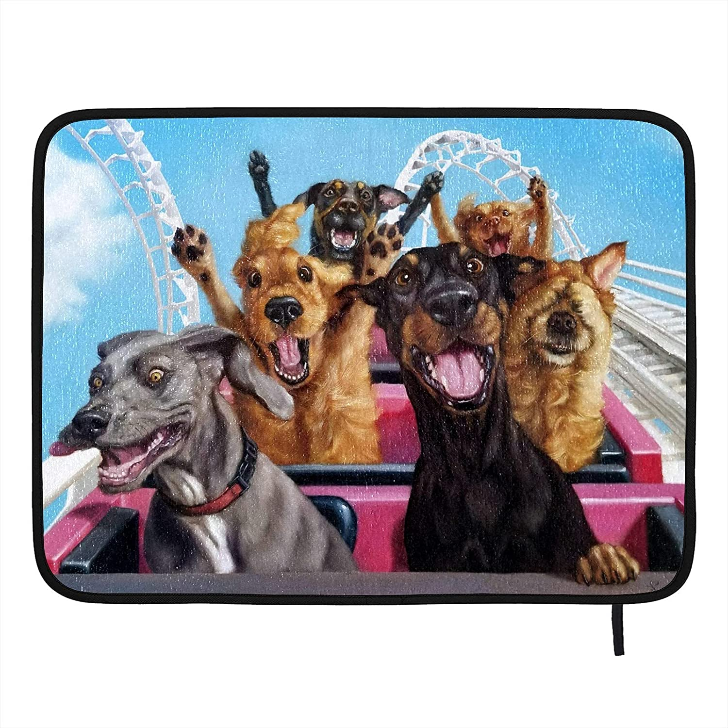 DOINB Clearance SALE Limited time Funny Dogs Large Dish Drying Mat Kitchen Memphis Mall for Counter-18 x