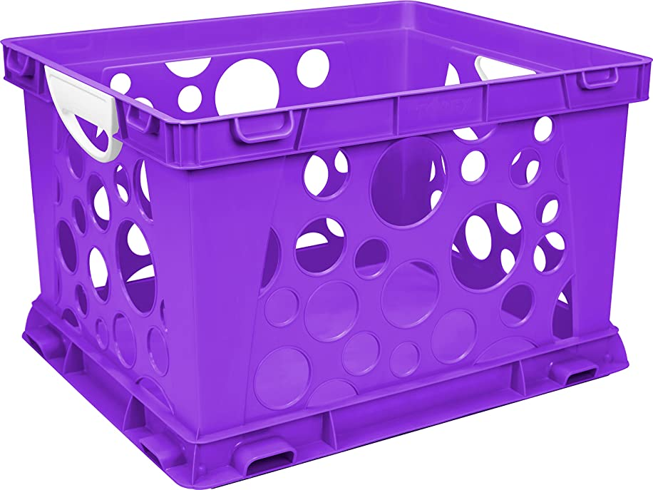 Storex Premium File Crate with Handles, Classroom Purple, 3-Pack