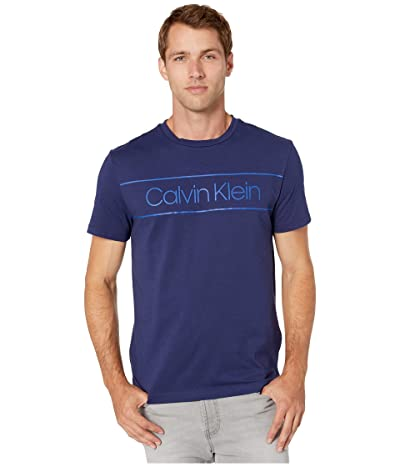 Calvin Klein Athleisure Logo Crew Neck T-Shirt (Royal Navy) Men