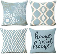 Hexagram Home Decorative Pillow Covers 18 x 18 Inch Set of 4 Blue Modern Geometric Soft Cotton Linen Throw Pillow Covers C...