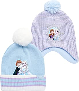 Sponsored Ad - Disney Girls' Winter Hat - 2 Pack Frozen Pom Pom Beanie or Minnie Mouse Hat with Ears