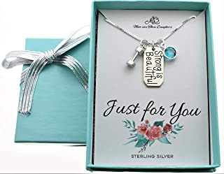"""Strong is Beautiful necklace on an 18"""" sterling silver Box chain. Fitness gifts. Weight lifter gift."""