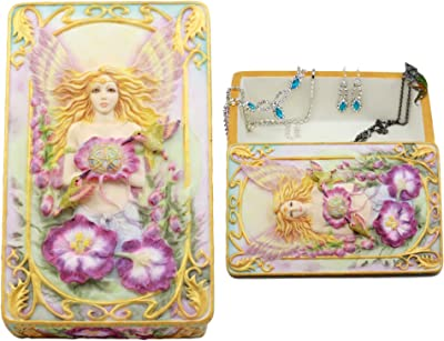 "Ebros Gift Jody Bergsma Art Gallery Faith Fairy Jewelry Box Figurine 6.5"" L Decorative Keepsake Knick Knack Trinket Box"