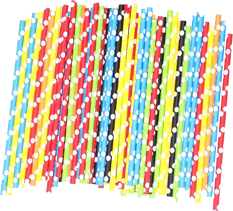 Pajitas de Papel,100 Piezas Pajitas de Cóctel de Colores Pajas de Beber para Jugos de Fiesta Decoración de Cócteles