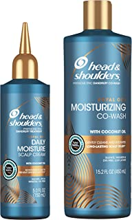 Head and Shoulders CoWash and Scalp Cream Treatment Kit, Anti Dandruff, Royal Oils Collection with Coconut Oil, for Natural and Curly Hair, 15.2 oz and 5.0 oz
