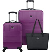 Delsey Paris Groove DLX 3-Piece Hardside Spinner Luggage Set (Carry-on, Checked Suitcase and Weekender Bag) (Fuchsia)