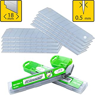 Box Cutter Utility Knife Replacement Blades (PACK of 10) - Heavy Duty SK2 Metal 18mm Snap Off Blade - For Retractable Utility Knives - Stays Sharp 3X Long - Perfect for Hobby, Cardboard, Carpet, Rope