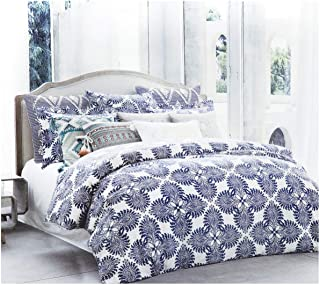 Stone Washed Flax Linen Duvet Quilt Cover Pure Genuine Linen Luxury 3pc Bedding Set Vintage Italian Damask Scroll Medallion Print Stonewashed Natural Taupe Grey (Queen, Navy Blue)