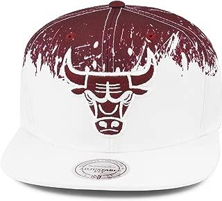 Mitchell & Ness Chicago Bulls Paint Splatter Snapback Hat Cap White/Maroon