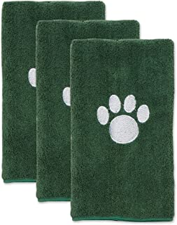 Bone Dry Pet Drying Collection Embroidered Terry Microfiber, Pet Towel Small Set, 15x30, Hunter Green, 3 Count