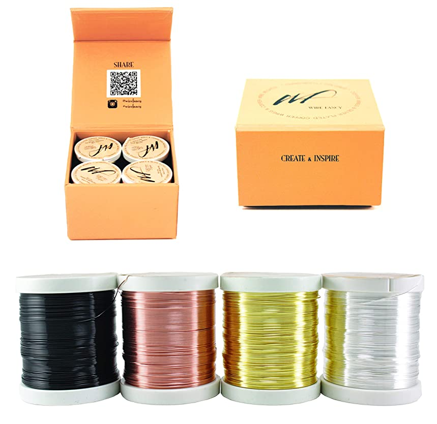 26 Gauge Tarnish Resistant Silver-Plated Copper and Copper Wire Set of 4 spools for Wrapping Jewelry Making Beading Floral Colored DIY Artistic Craft Coil Wire kit (WF Color Set 1, 0.40 mm)