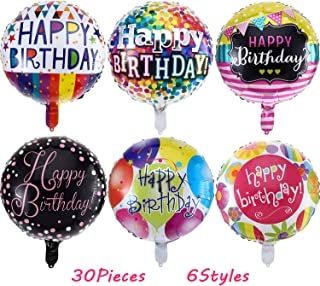 30 Pieces 18 Inch Happy Birthday Foil Balloons Round Shape Foil Mylar Balloons Color Floating Balloon for Birthday Party