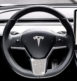 Be A Blinger Unique Tesla Auto Accessory Steering Wheel Crystal Badge Bling T Logo Decal Handmade Rhinestone Emblem Decoration Cover Car Sticker Trim Gift Box for Tesla Model 3 (Whole Set