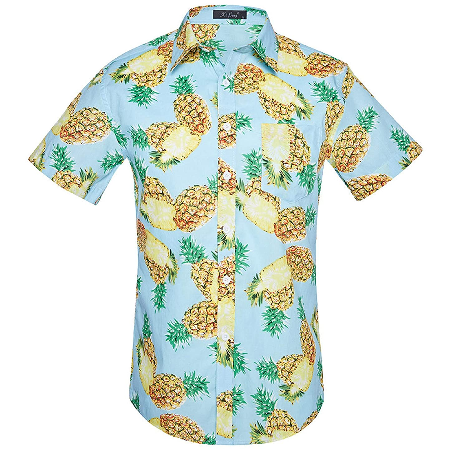 Mens Fashion Shirts, Beach Ethnic Style Short-Sleeved Retro Floral Printed Blouse Casual Short Sleeve Slim Shirts Tops